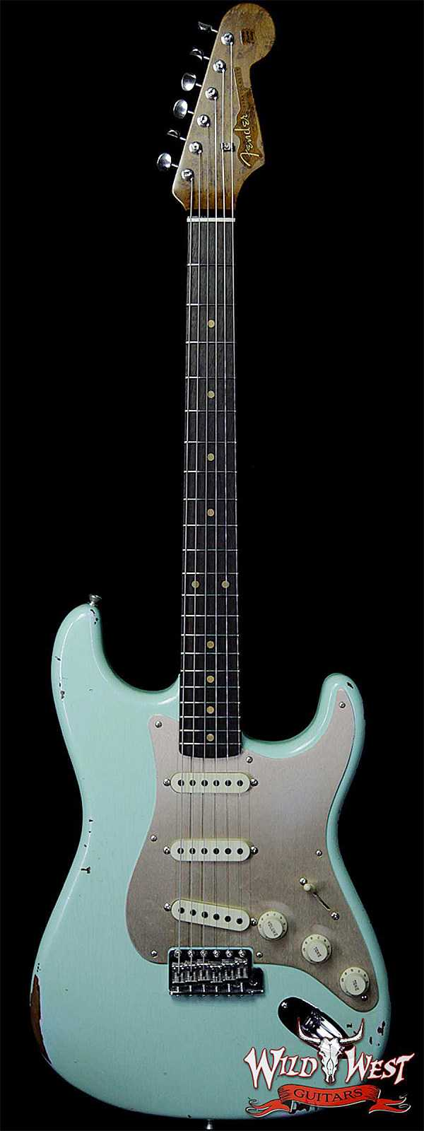 Fender Custom Shop 1960 Roasted Stratocaster Relic Birdseye Maple Neck AAA Rosewood Surf Green