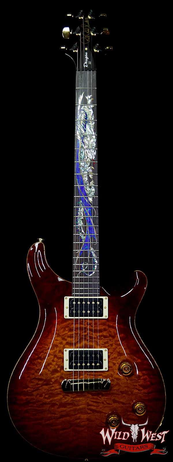 1994 PRS Dragon III # 47 of 100 Special Order Quilt Top Brazilian Rosewood Fingerboard Dark Cherry Sunburst
