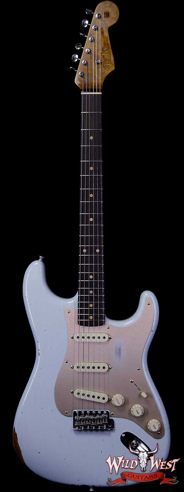 Fender Custom Shop Roasted 1960 Stratocaster Relic Birdseye Neck Slab AAA Rosewood Board Faded Sonic Blue