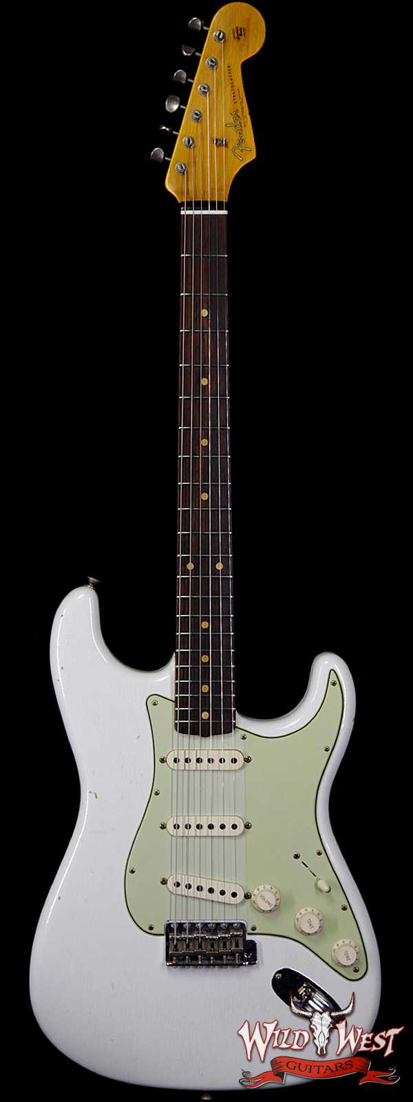 Fender Custom Shop 1961 Stratocaster Journeyman Relic Dirty Neck 3A Rosewood Slab Board Olympic White