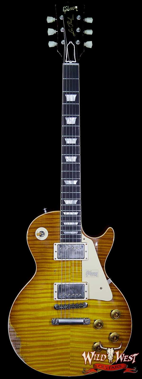 Gibson Custom Shop Historic 1959 Les Paul Heavy Aged Hand Selected Killer Top Brazilian Rosewood Board Honey Lemon Fade 8.35 Pounds