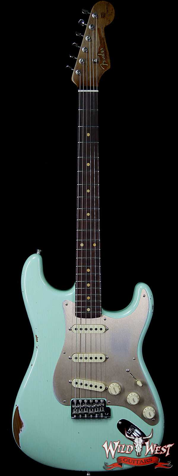 Fender Custom Shop Roasted 1960 Stratocaster Relic 3A Birdseye Neck 3A Rosewood Slab Board Surf Green
