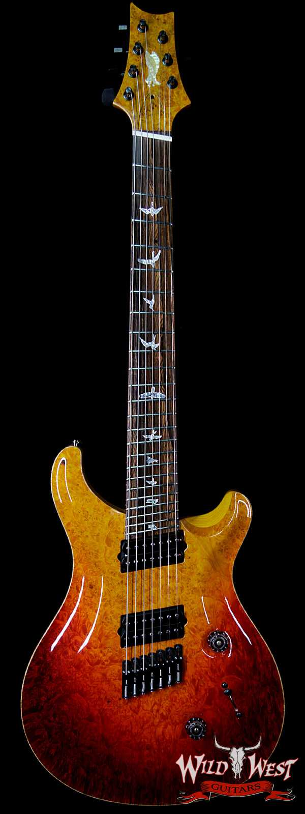PRS Private Stock #7474 Custom 24 7-String Fanned Fret 1-Piece Burl Maple Top Cocobolo Fingerboard Dragon's Breath