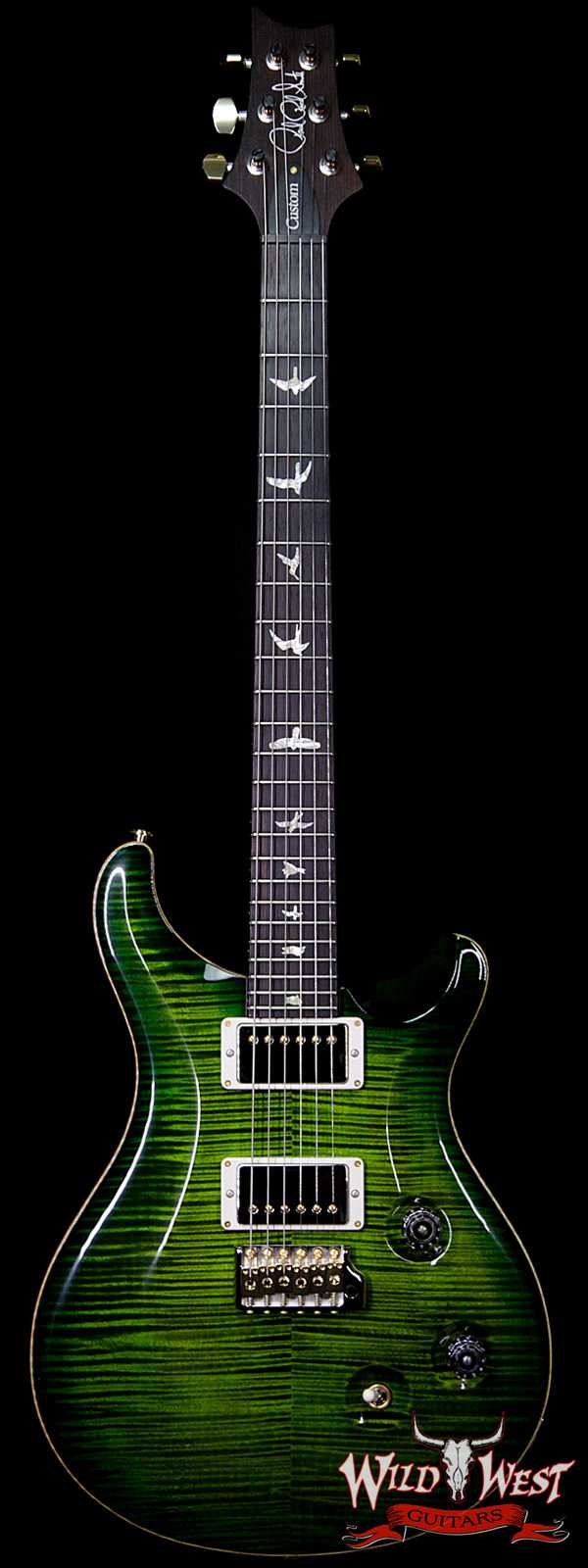 PRS Wood Library 10 Top Custom 24 Flame Maple Top Brazilian Rosewood Fingerboard Jade Burst