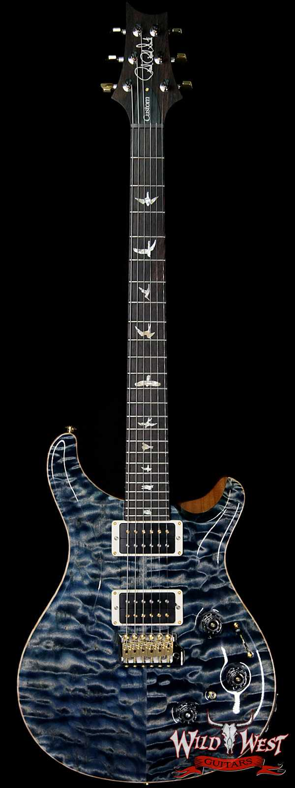 PRS Wood Library Artist Package Quilt Top Custom 24 Piezo P24 Brazilian Rosewood Board Faded Whale Blue