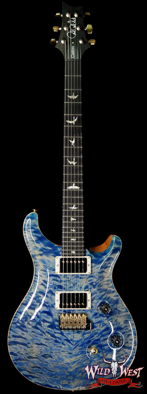 PRS Wood Library 10 Top Custom 24 Quilt Maple Top Ebony Fingerboard Faded Blue Jean