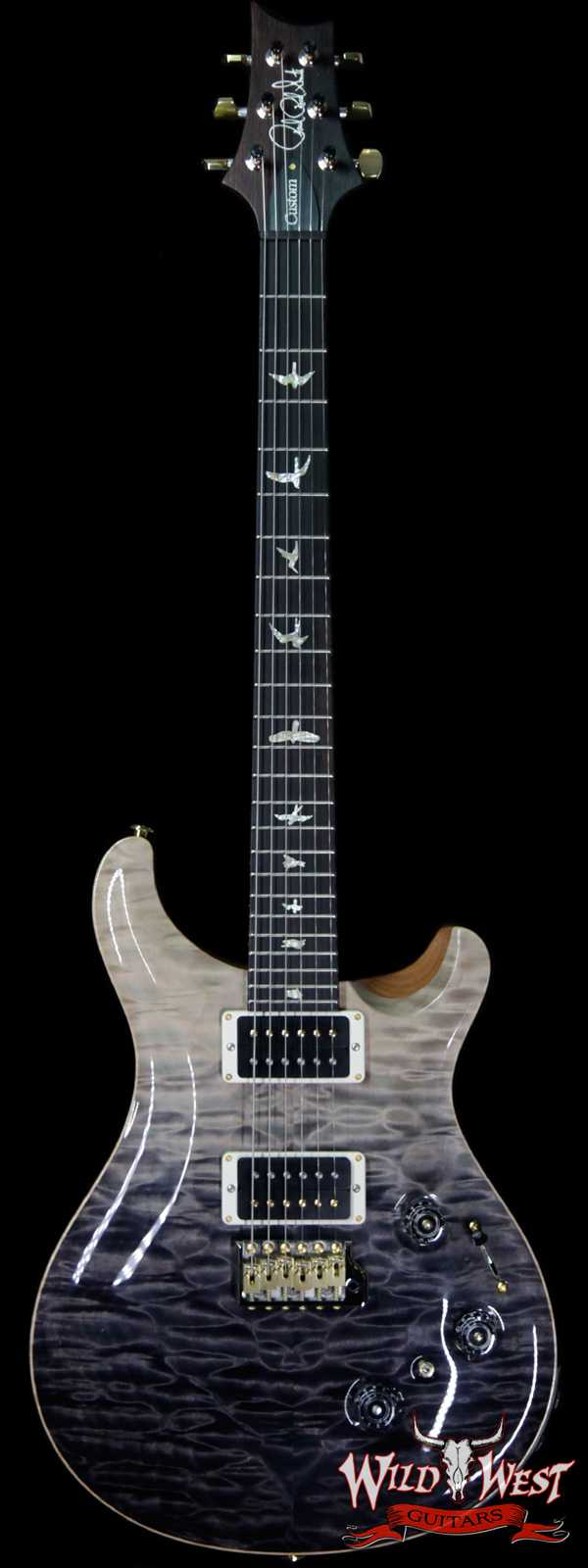 PRS Wood Library Artist Package Quilt Top Custom 24 Piezo P24 Brazilian Rosewood Board Grey Black Fade