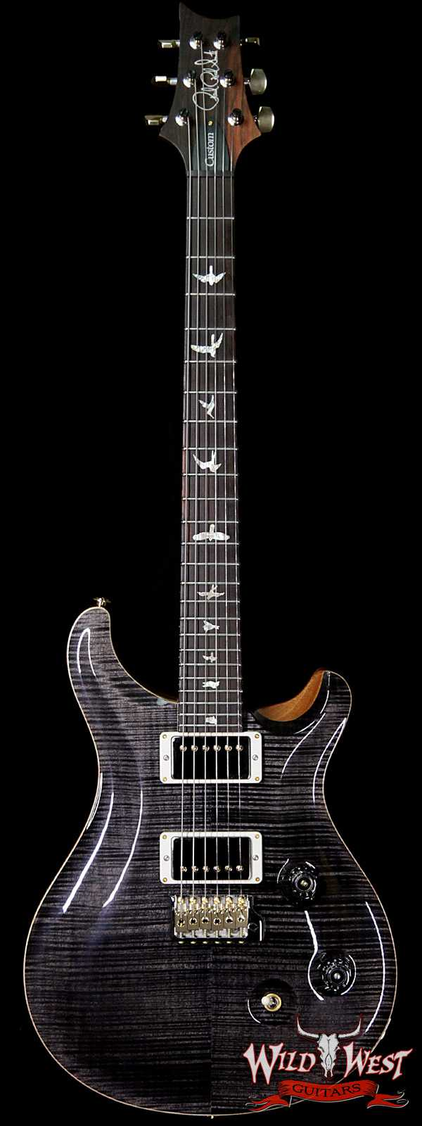 PRS Wood Library 10 Top Custom 24 Fatback Flame Maple Top Brazilian Rosewood Fingerboard Grey Black