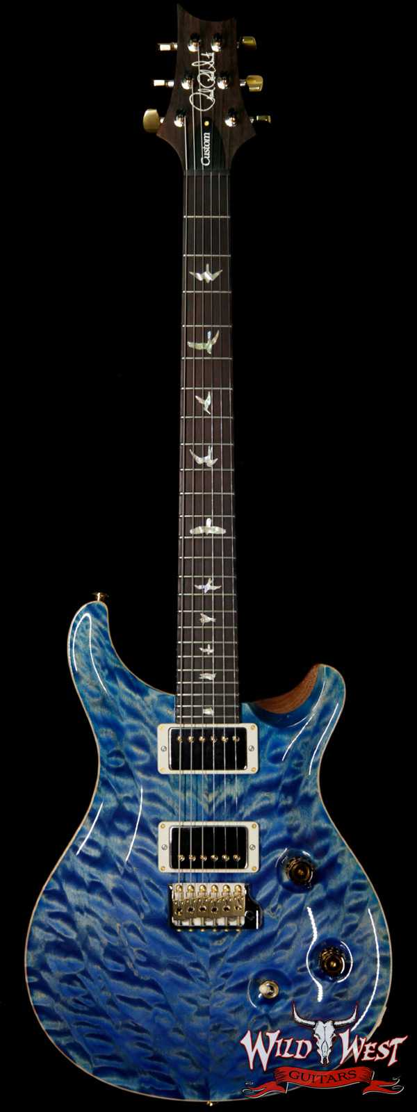 PRS Wood Library 10 Top Custom 24 Quilt Top Brazilian Rosewood Board Faded Blue Jean