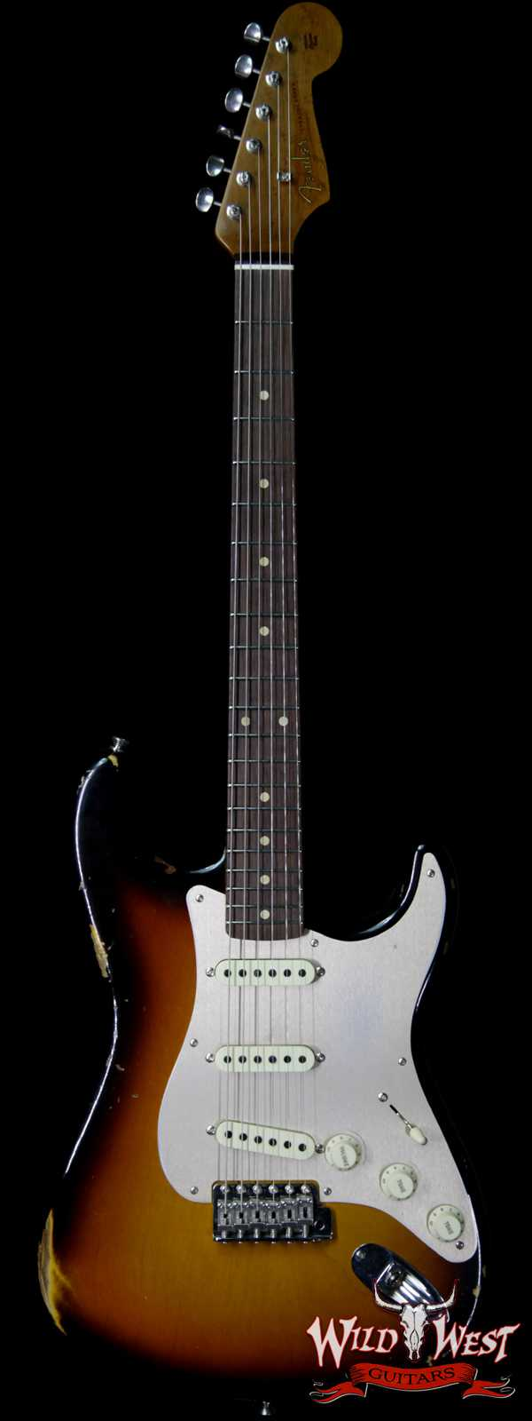 Fender Custom Shop Roasted 1960 Stratocaster Relic Birdseye Neck AAA Rosewood Slab Board 3 Tone Sunburst