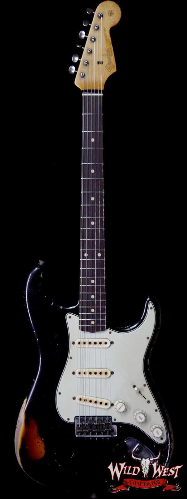 Fender Custom Shop John Cruz Masterbuilt 1961 Stratocaster Heavy Relic AAA Rosewood Slab Board Black / 3 Tone Sunburst