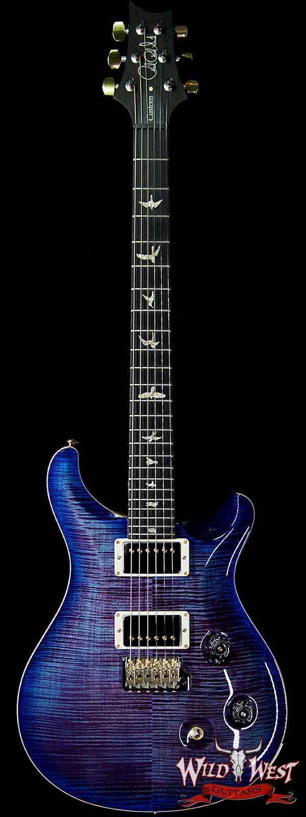 PRS Wood Library 10 Top Custom 24 Flame Maple Top Brazilian Rosewood Board Violet Blue Burst