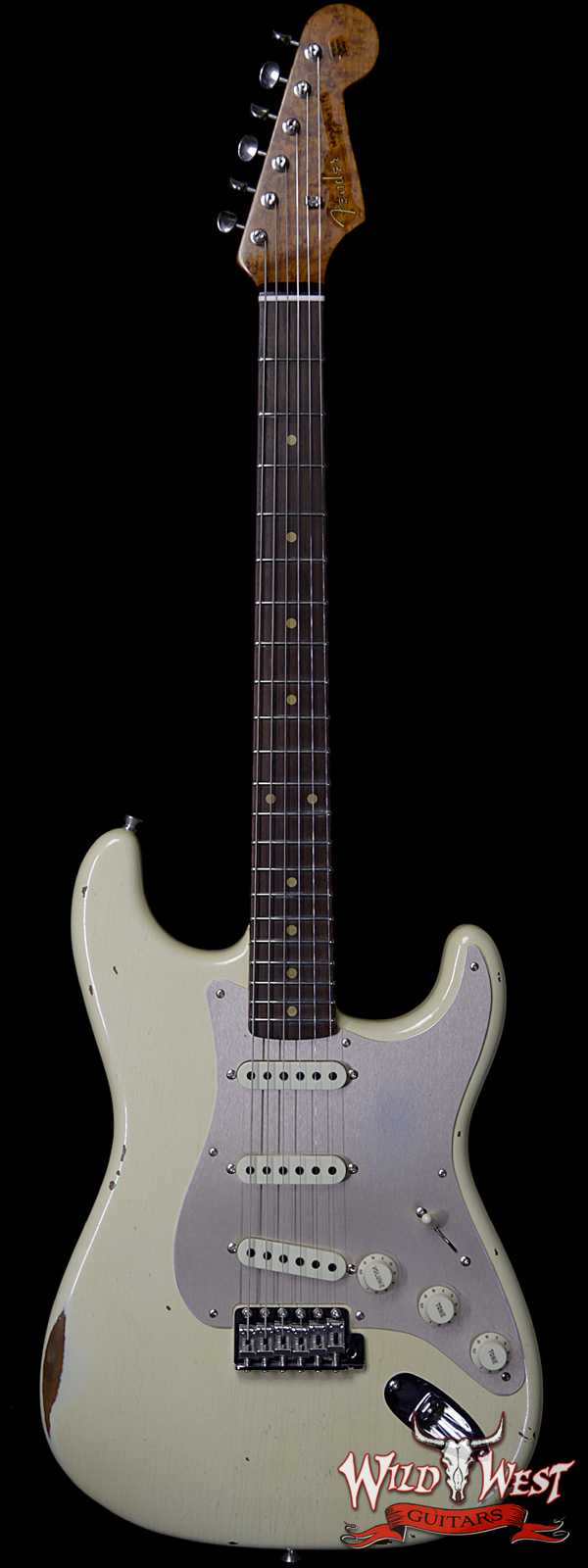 Fender Custom Shop Roasted 1960 Stratocaster Relic AAA Birdseye Maple Neck 3A Rosewood Slab Board Vintage White