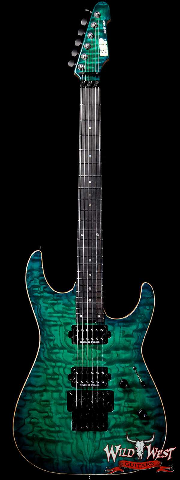 ESP USA M-II Floyd Rose Tamo Ash Top with Ebony Fretboard Emerald Green Sunburst