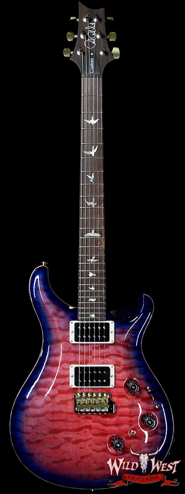 PRS Wood Library Artist Package Quilt Top Custom 24 Piezo P24 Brazilian Rosewood Board Bonnie Pink Blue Burst