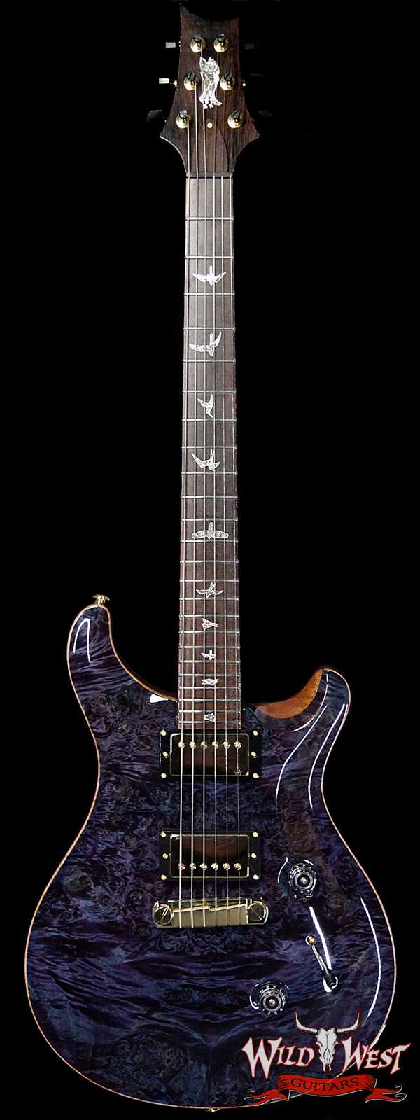 PRS Private Stock #8135 Custom 24 Stoptail Burl Maple Top Brazilian Rosewood Board Aqua Violet
