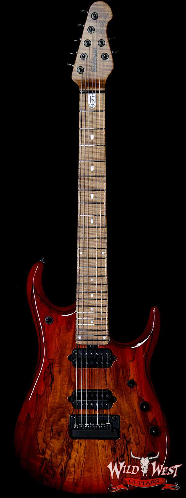 Ernie Ball Music Man BFR JP15 Piezo 7 String Spalted Maple Top Blood Orange Burst #45 of 71