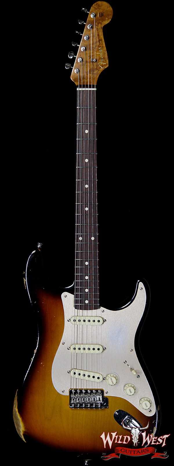 Fender Custom Shop Roasted 1960 Stratocaster Birdseye Maple Neck Slab 3A Rosewood Board Relic 3 Tone Sunburst