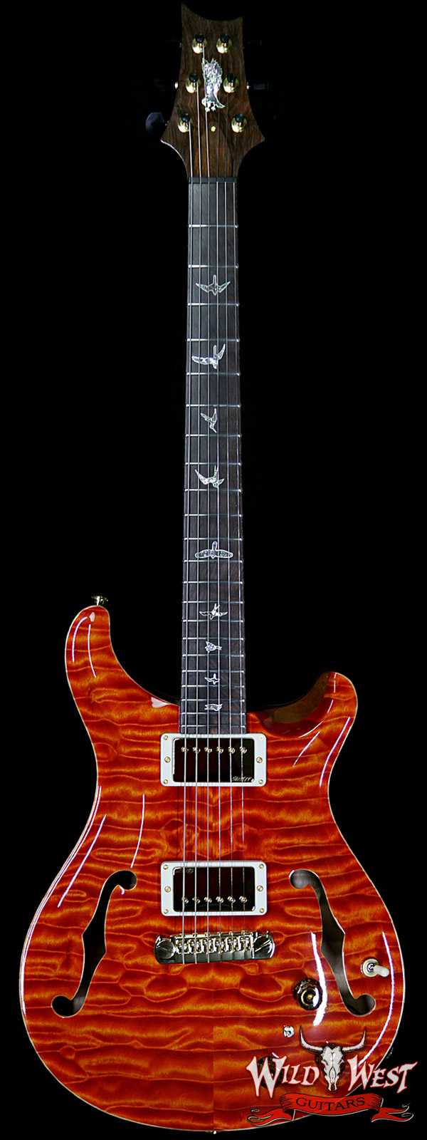 PRS Private Stock #8134 Hollowbody II Piezo Quilted Maple Top & Back Brazilian Rosewood Board Santana Orange