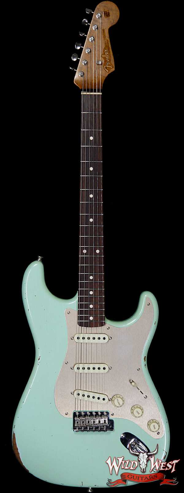 Fender Custom Shop Roasted 1960 Stratocaster Relic 3A Birdseye Maple Neck 3A Rosewood Board Aged Surf Green