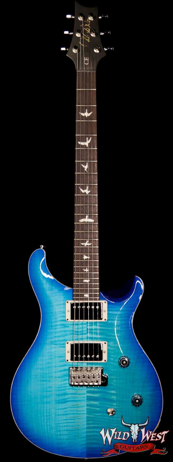 PRS Wild West Guitars Special Run CE 24 Flame Top Painted Neck 57/08 Pickups Makena Blue 290165
