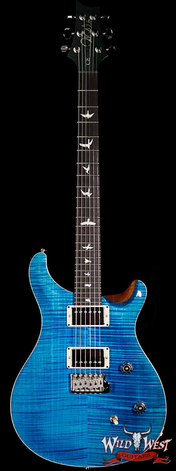 PRS Wild West Guitars Special Run CE 24 Flame Top Painted Neck 57/08 Pickups Blue Matteo