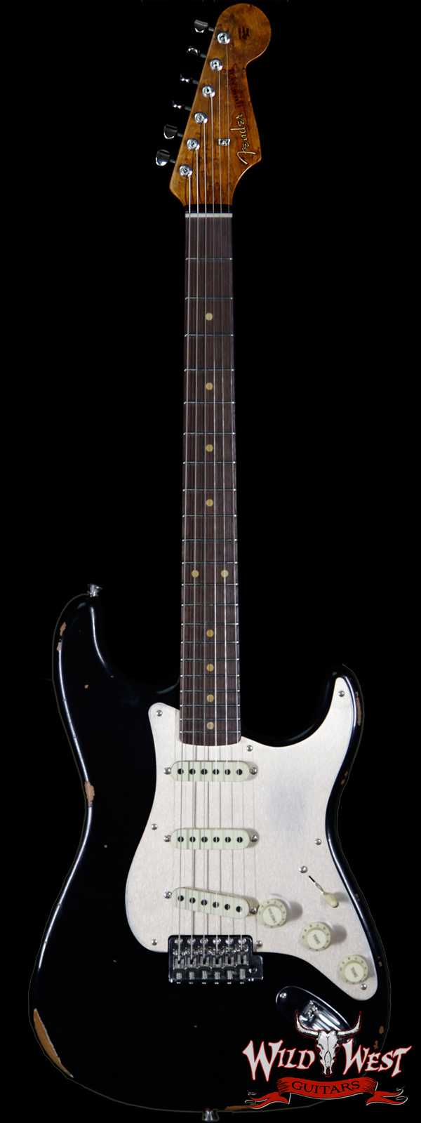 Fender Custom Shop Roasted 1960 Stratocaster Relic AAA Birdseye Neck 3A Rosewood Slab Board Black