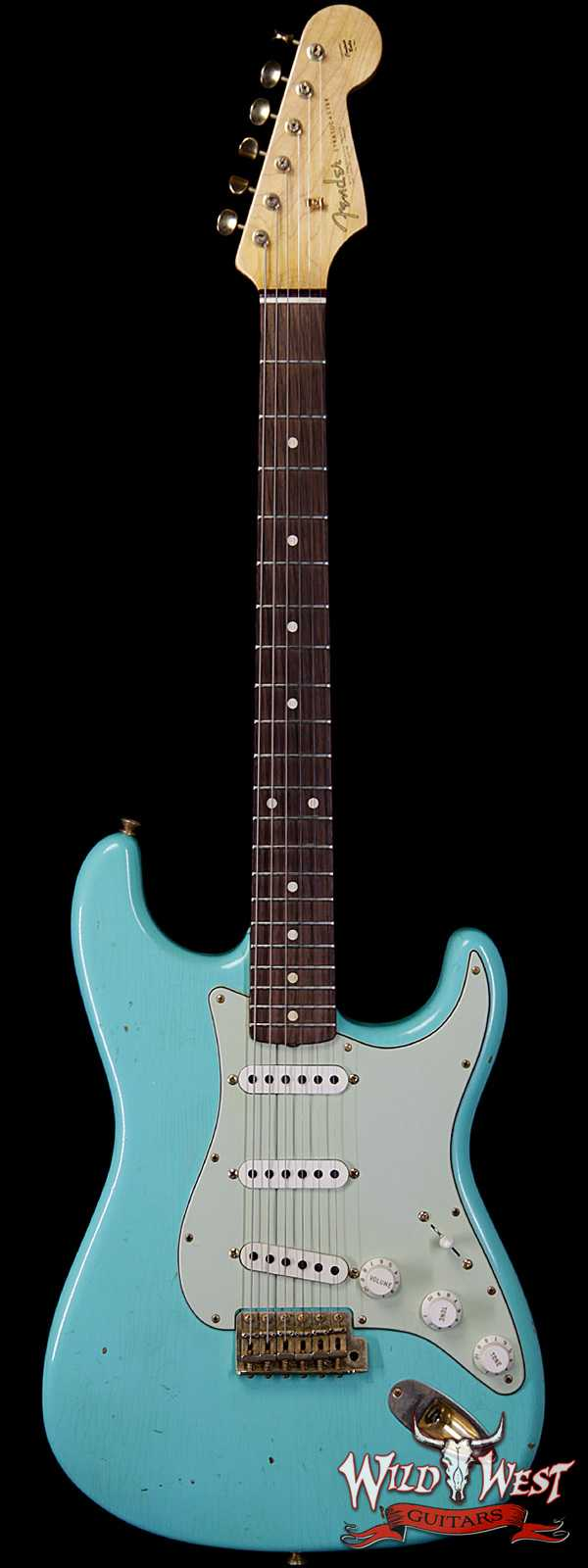 2017 Fender Custom Shop 1963 Stratocaster Journeyman Relic Faded Sea Foam Green Gold Hardware
