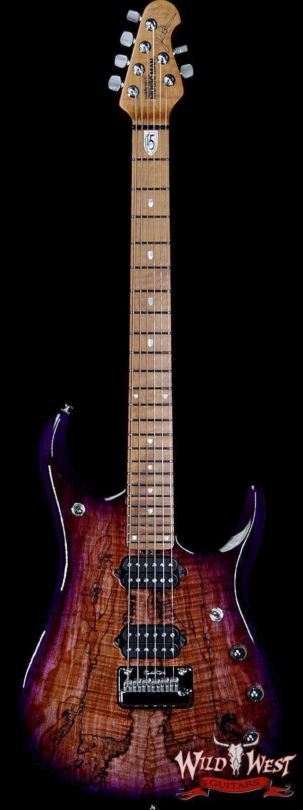 Ernie Ball Music Man BFR JP15 Piezo #28 of 84 Spalted Maple Top Roasted Flame Maple Neck Purple Sunset