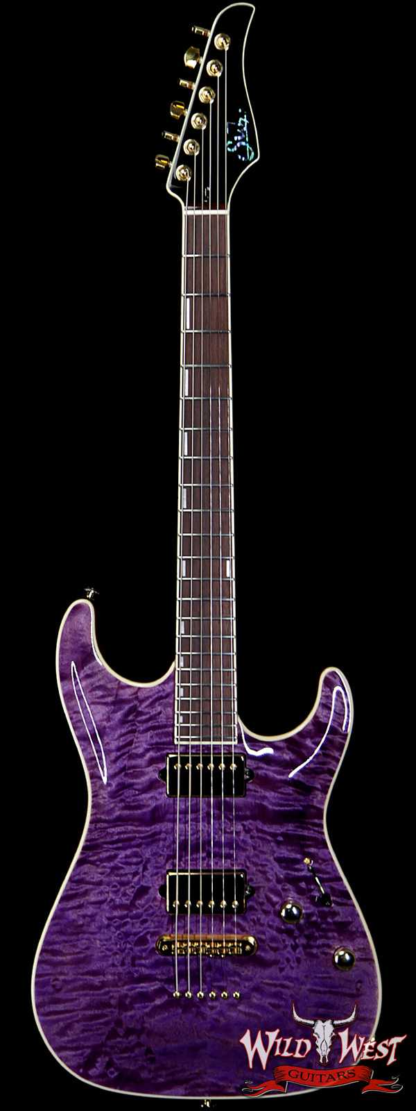 Suhr Custom Carve Top Standard Quilt Maple Top Indian Rosewood Satin Neck String-Thru Trans Purple