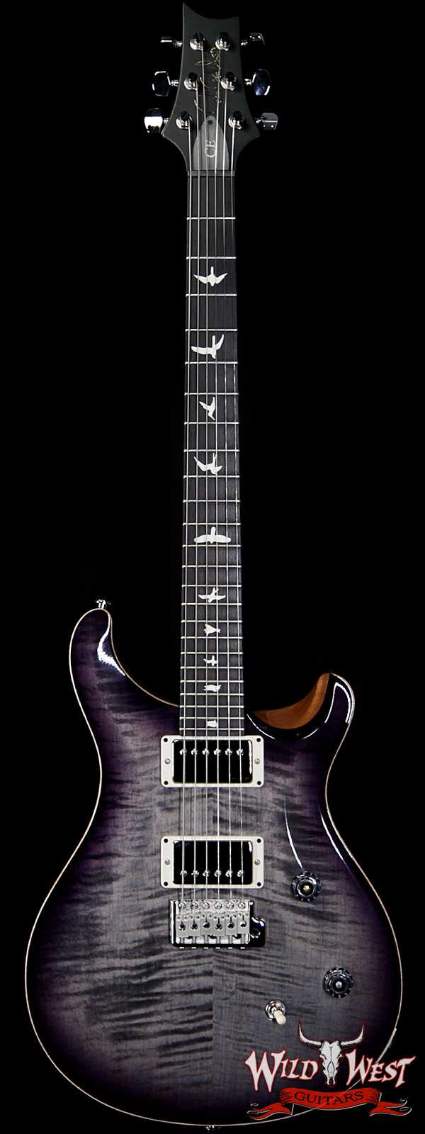 PRS Wild West Guitars Special Run CE 24 Flame Top Painted Neck 57/08 Pickups Faded Gray Black Purple Burst 292245