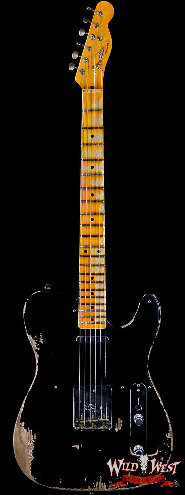 Fender Custom Shop 1952 Telecaster Maple Neck Heavy Relic Aged Black with Black Pickguard