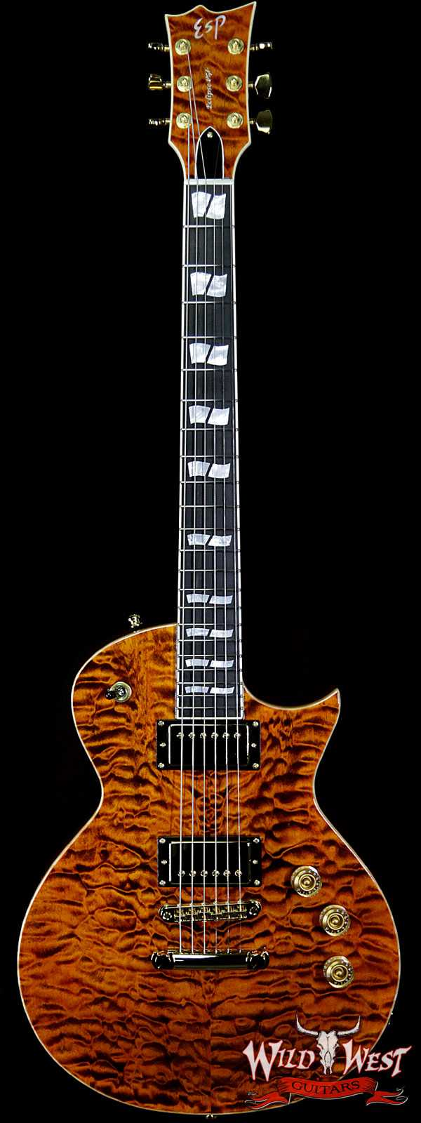 ESP USA Eclipse Quilted Maple Top Ebony Fingerboard Seymour Duncan APH-1 Pickups Tiger Eye Gold Hardware