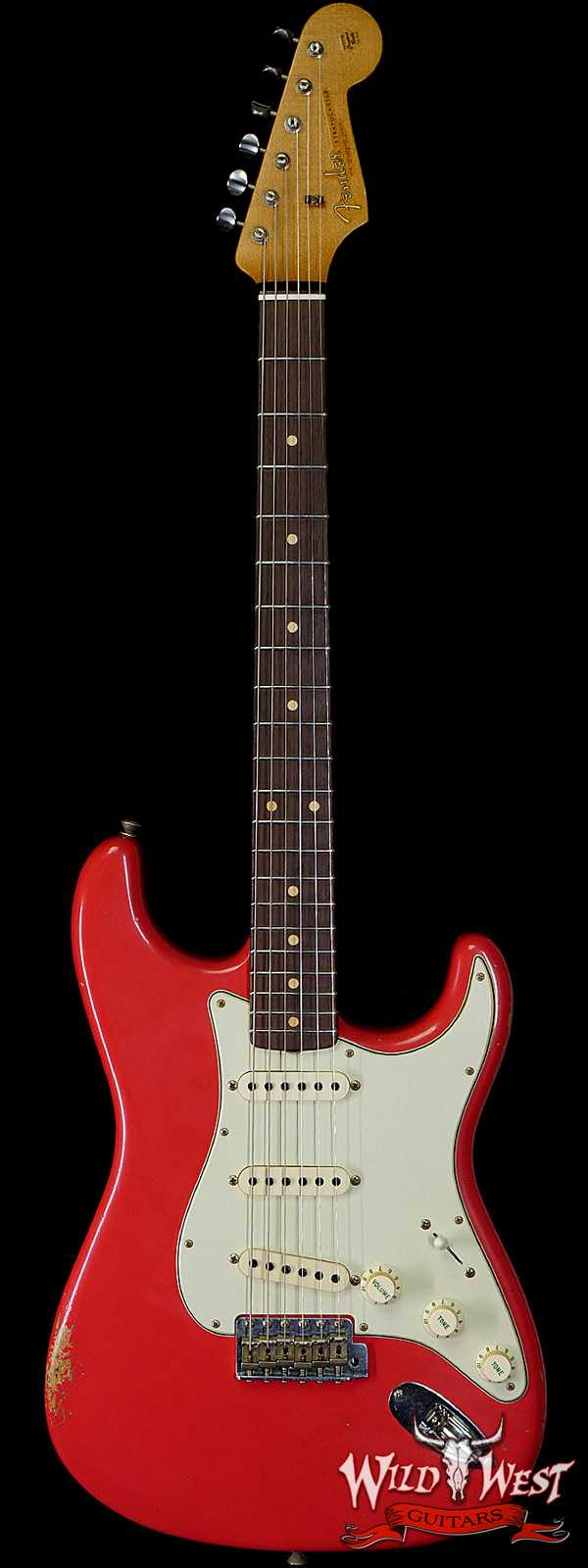 Fender Custom Shop Paul Waller Maserbuilt 1961 Stratocaster Relic Hand-Wound Pickups Rosewood Slab Board Fiesta Red
