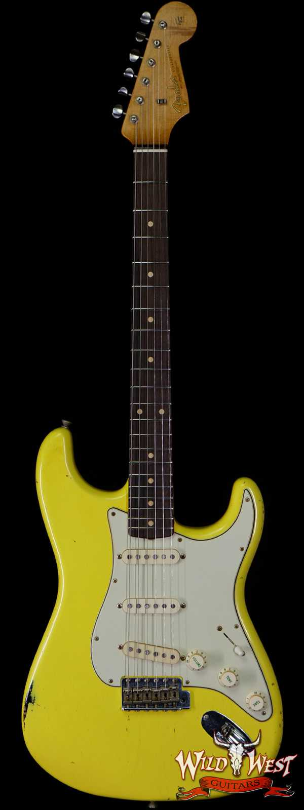 Fender Custom Shop Paul Waller Maserbuilt 1962 Stratocaster Relic Hand-Wound Pickups Rosewood Slab Board Graffiti Yellow over Black