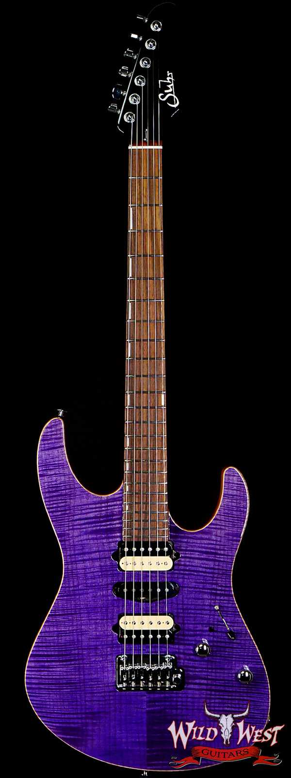 Suhr Custom Modern Set Neck HSH Flame Maple Top Indian Rosewood Fingerboard Trans Purple w/ Blower Switch