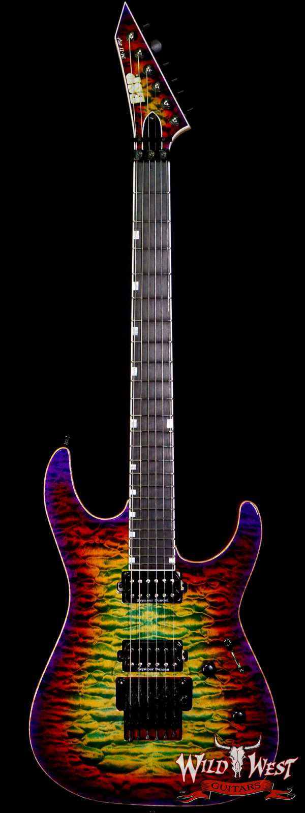 ESP USA M-II DLX FR Floyd Rose Quilt Maple Top Ebony Fingerboard Seymour Duncan Pickups Lynch Burst