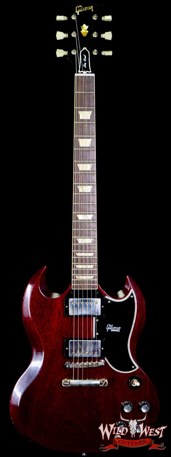 Gibson Custom Shop M2M 1961 Les Paul SG Standard Reissue Stop Bar Light Aged Faded Cherry