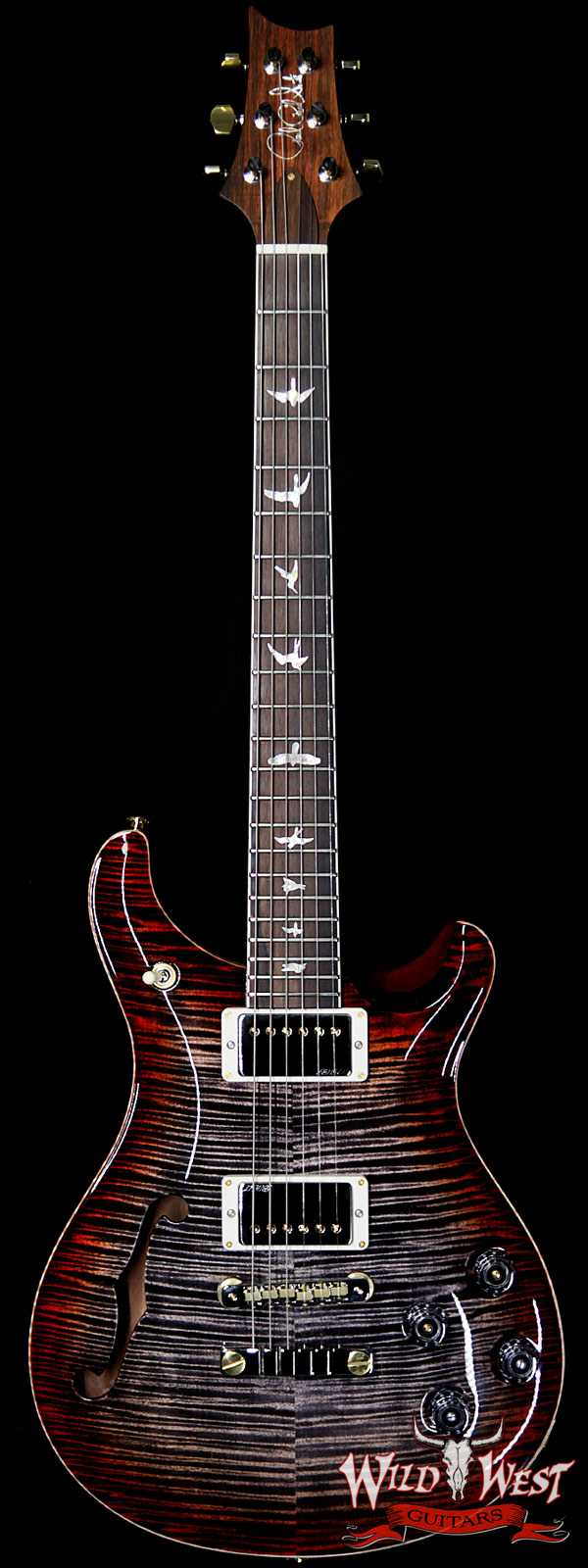 PRS Wild West Guitars 20th Anniversary Limited Run # 23 of 40 Wood Library Artist Package Semi-Hollow McCarty 594 Charcoal Cherry Burst