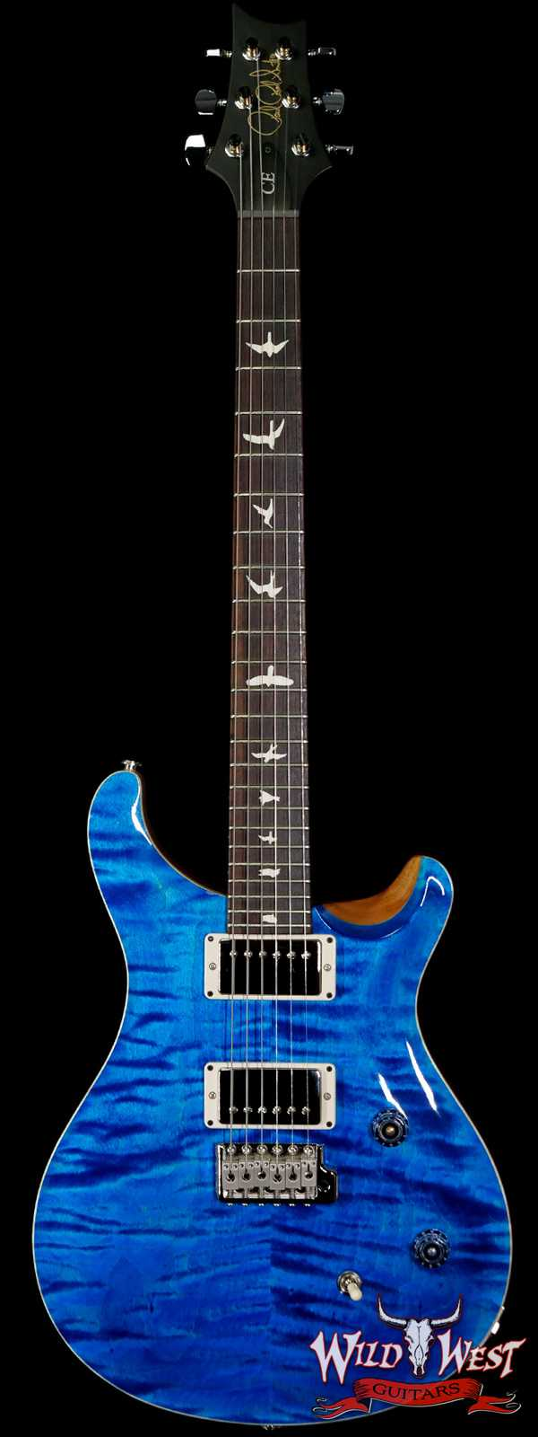 PRS Wild West Guitars Special Run CE 24 Flame Top Painted Neck 57/08 Pickups Blue Matteo 296659