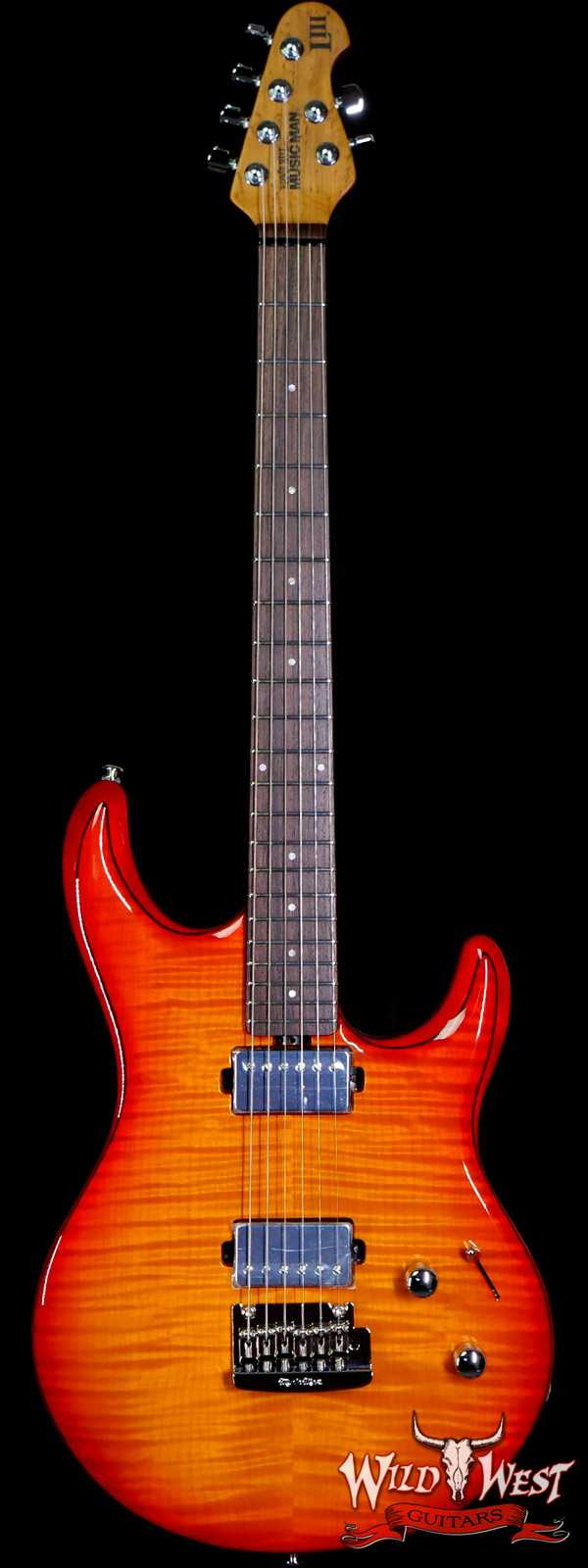 Ernie Ball Music Man Steve Lukather Luke III HH Flame Maple Top Roasted Birdseye Maple Neck Cherry Burst