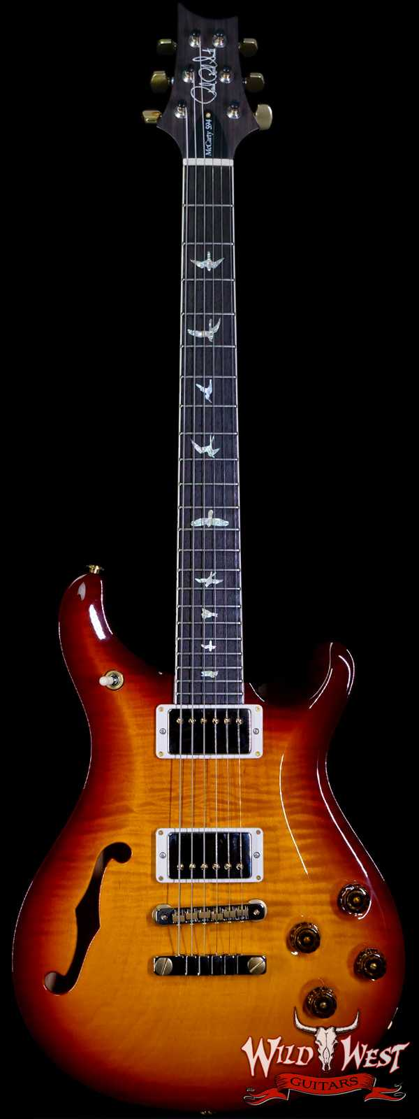 PRS Core 10 Top Flame Maple McCarty 594 Semi-Hollow Rosewood Fingerboard Dark Cherry Burst Wrap