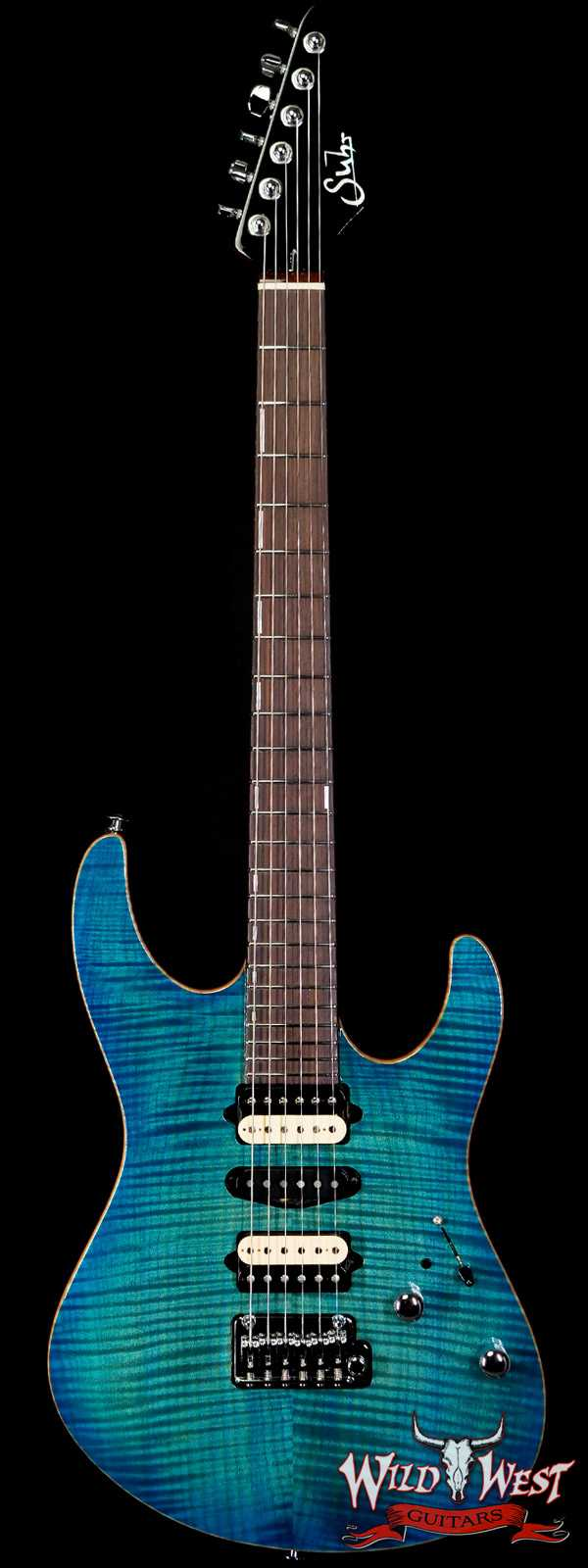 Suhr Custom Modern Set Neck HSH Flame Maple Top Indian Rosewood Fingerboard with Blower Switch Bahama Blue