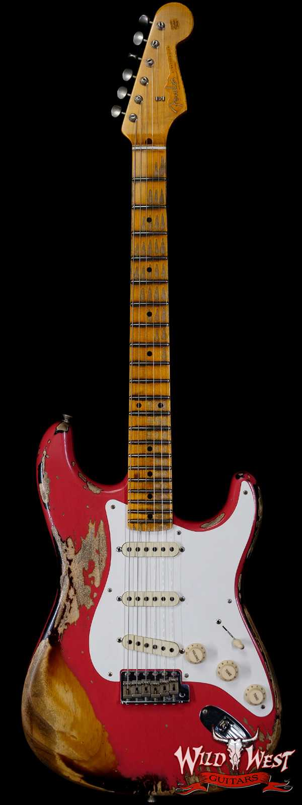 Fender Custom Shop Limited Edition 1957 Stratocaster Heavy Relic Hand-Wound Pickups Fiesta Red over 2 Tone Sunburst