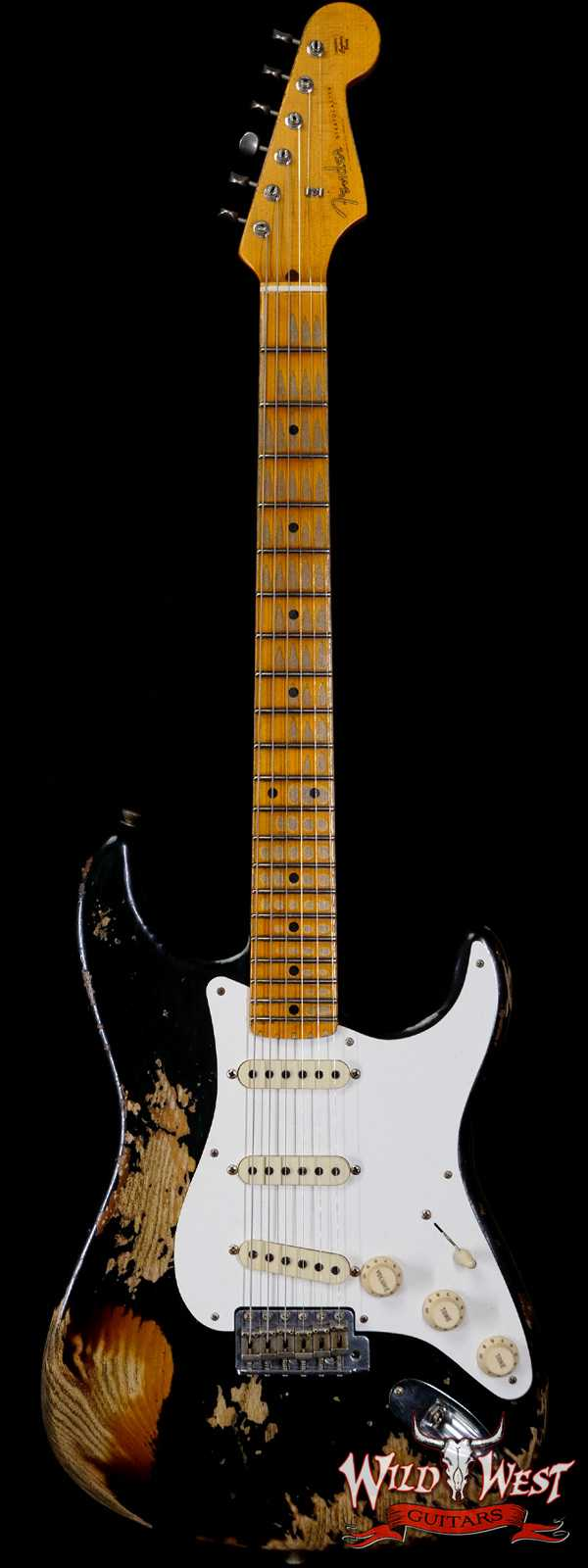 Fender Custom Shop Limited Edition 1957 Stratocaster Heavy Relic Hand-Wound Pickups Black over 2 Tone Sunburst