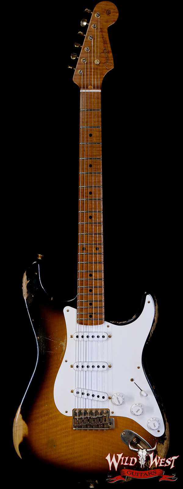 Fender Custom Shop Kyle McMillin Masterbuilt 1955 Stratocaster Relic Roasted 3A Flame Maple Neck Hand-Wound Pickups 2 Tone Sunburst