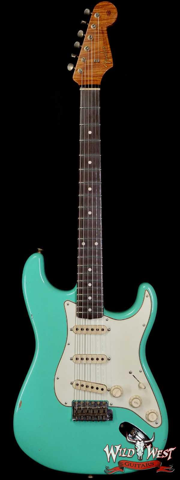 Fender Custom Shop Dennis Galuszka Masterbuilt Roasted 1959 Stratocaster Journeyman Relic Brazilian Rosewood Slab Board Hand-Wound Pickups Aged Surf Green