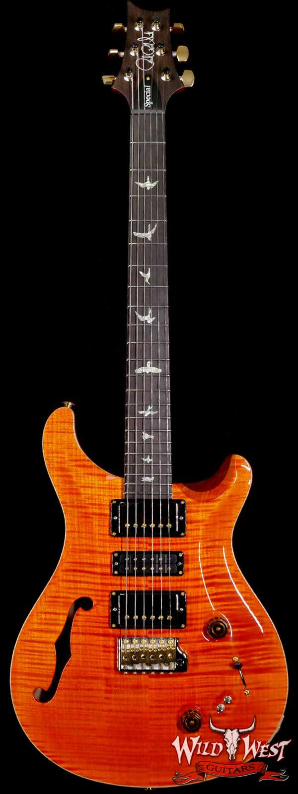 PRS Wood Library 10 Top Special 22 Semi-Hollow Flame Maple Stained Neck Brazilian Rosewood Fingerboard Orange