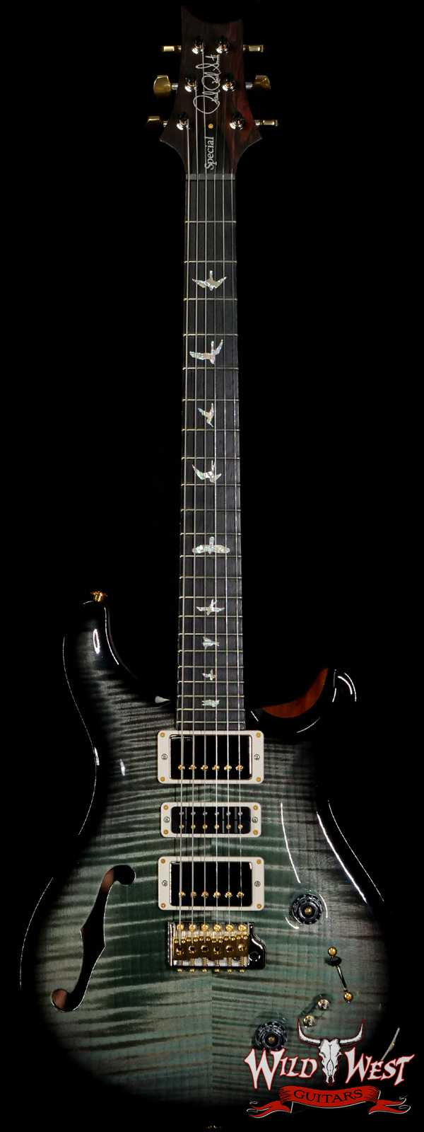 PRS Wood Library 10 Top Special 22 Semi-Hollow Flame Mahogany Neck Brazilian Rosewood Board Trampas Green Smokeburst