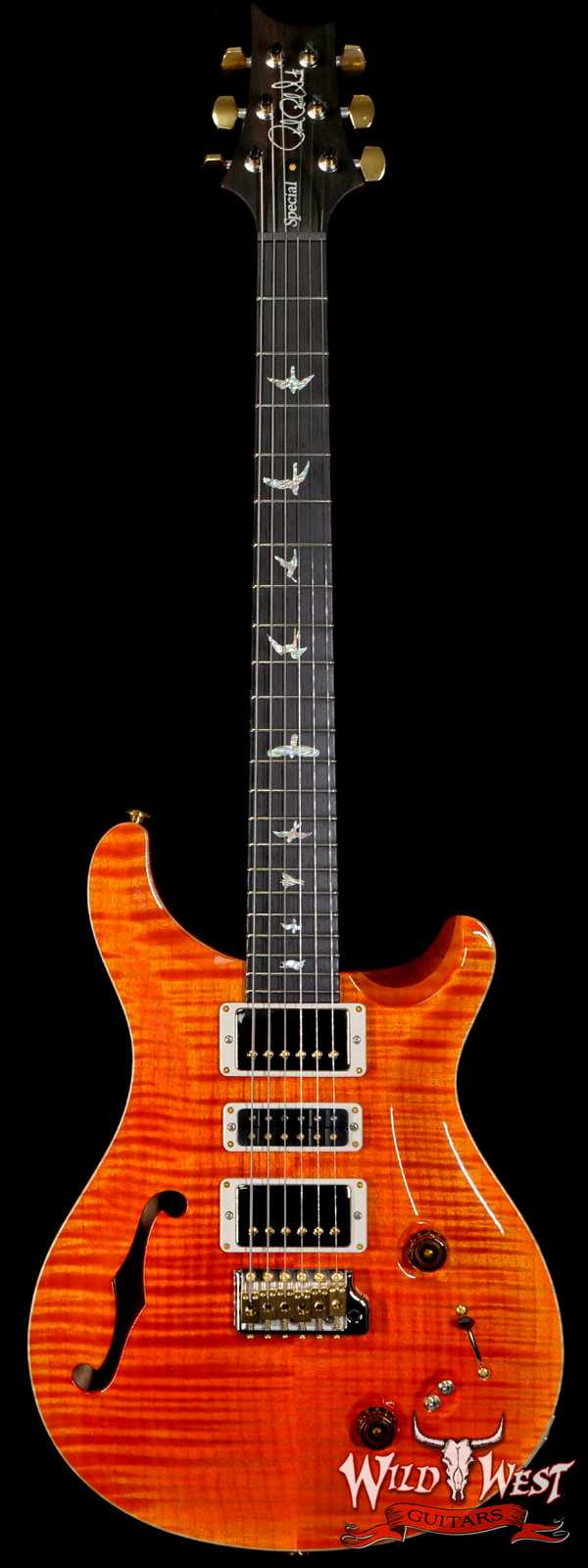PRS Wood Library 10 Top Special 22 Semi-Hollow Flame Mahogany Neck Brazilian Rosewood Fingerboard Orange